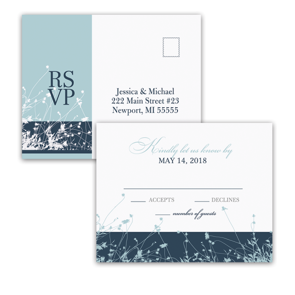 Bohemian Floral Wedding RSVP Postcard Wildflower