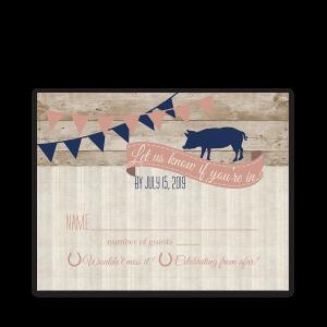 I DO BBQ Country Wedding Reception RSVP Card