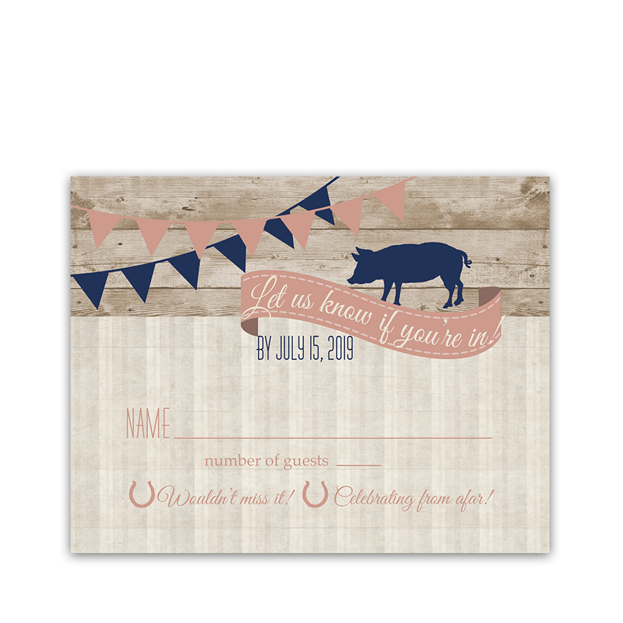 I DO BBQ Country Wedding Reception RSVP Card