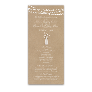 Rustic Kraft Wedding Ceremony Program Cotton Theme