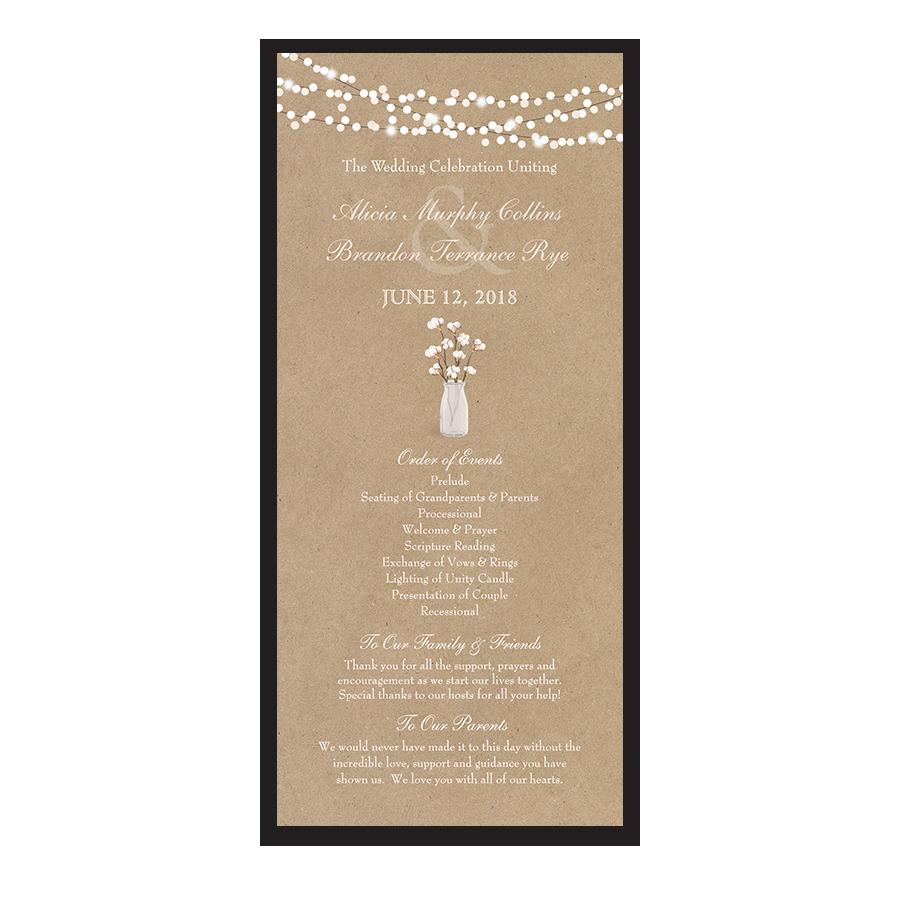 Rustic Kraft Wedding Ceremony Program Cotton Theme