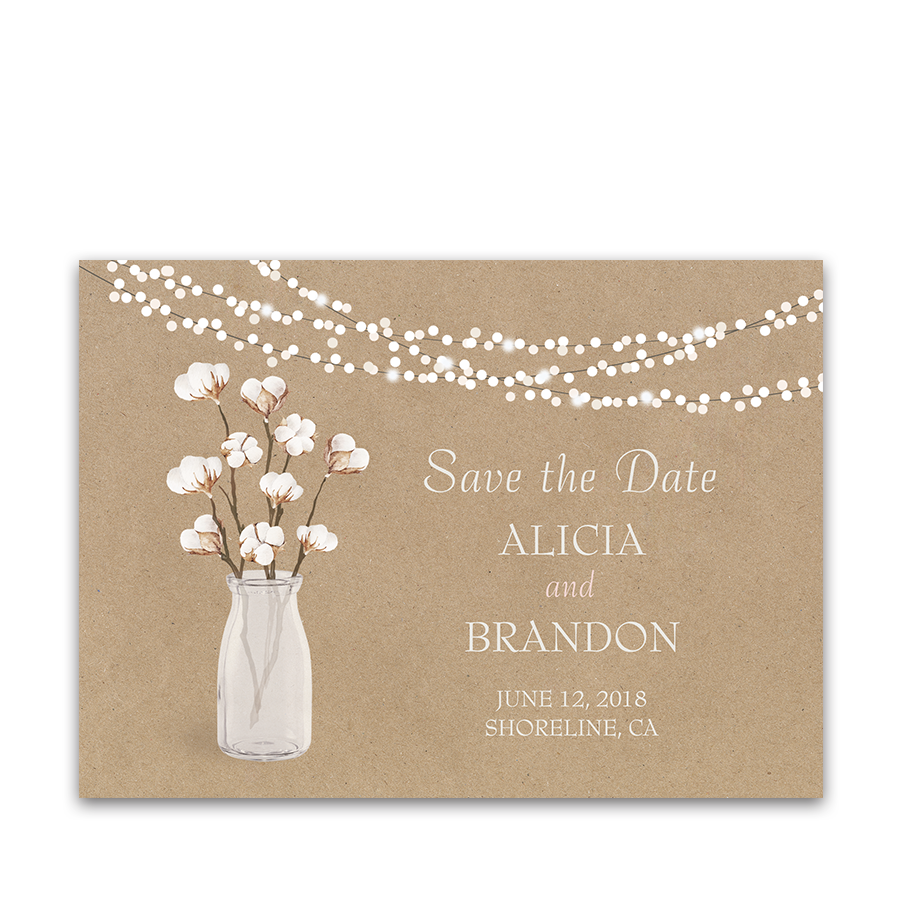 Rustic Kraft Wedding Save The Date Card Cotton