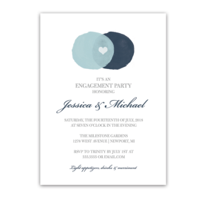 Modern Circles Watercolor Engagement Party Invitation