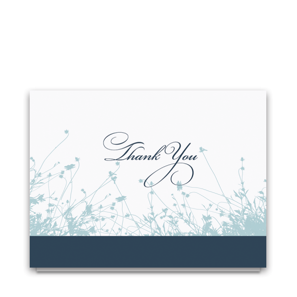 Navy and Pale Blue Floral Wedding Thank You Card