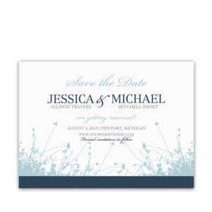Floral Save the Date Wildflower Card Navy Blue