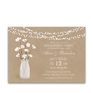 Kraft Paper Engagement Party Invitation Cotton Theme