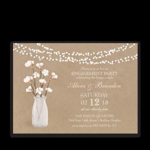 Kraft Paper Engagement Party Invitation Cotton Theme