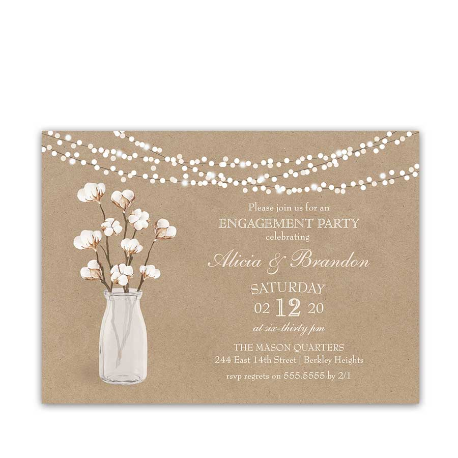 Southern Engagement Party Invitation Cotton on Kraft Paper