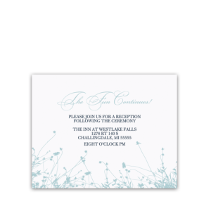Navy Blue Floral Wedding Reception Information Card