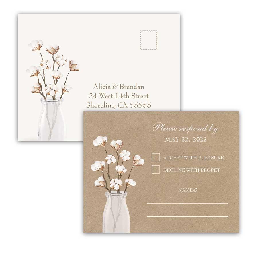 Rustic Wedding RSVP Postcard Kraft