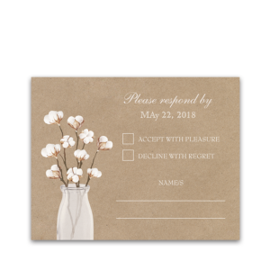Rustic Cotton Theme Kraft Paper Wedding RSVP Card