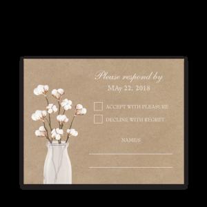 Rustic Cotton Theme Kraft Paper Wedding RSVP Card