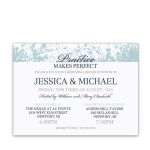 Navy Blue Floral Wildflowers Rehearsal Dinner Invitation