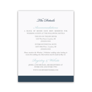 Navy Blue Floral Wedding Additional Information Cards