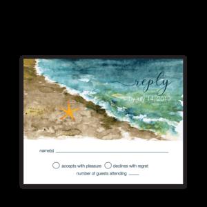 Beach Wedding RSVP Cards Ocean Theme Watercolors