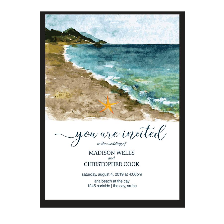Beach Wedding Invitation Sea Inspired Watercolors