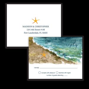 Beach Wedding RSVP Postcards Ocean Theme