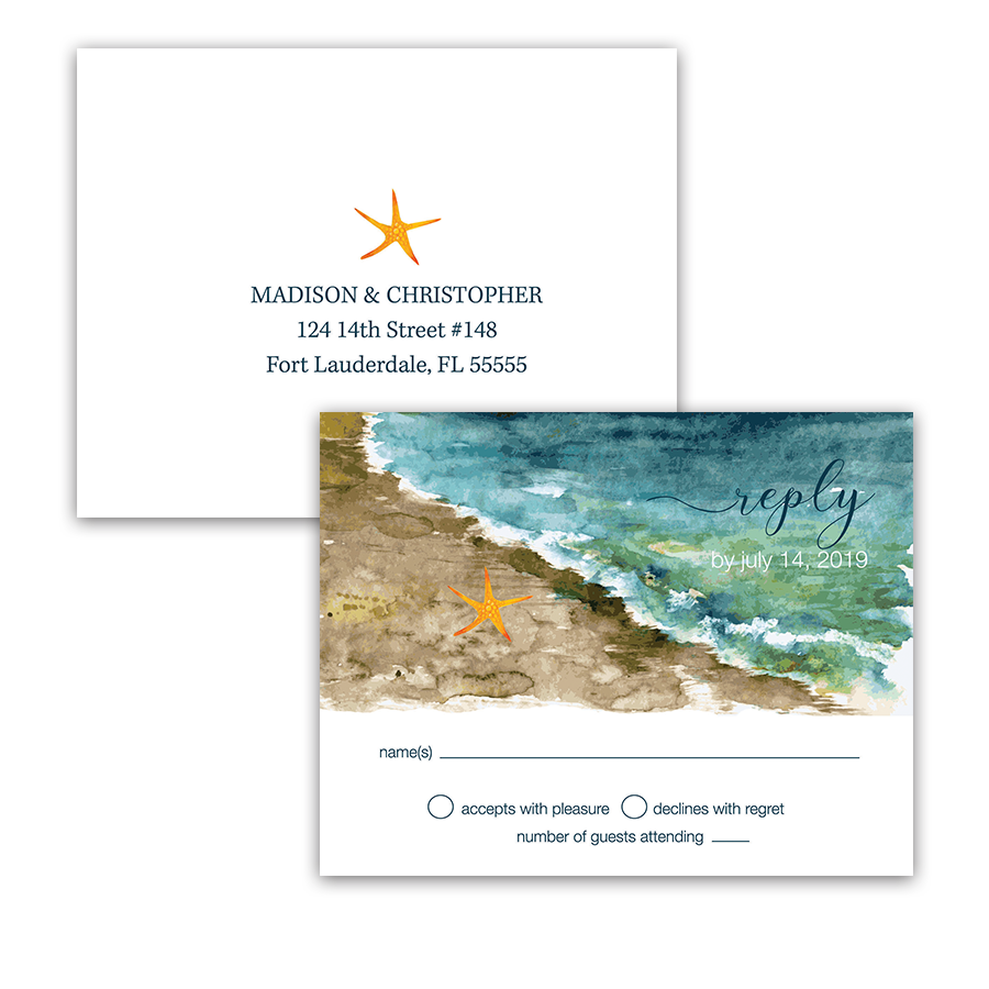Beach Wedding RSVP Postcards Ocean Theme