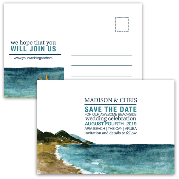 Beach Wedding Watercolor Painting Save the Date Postcard