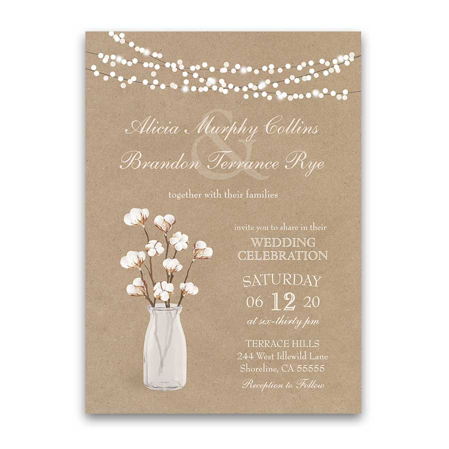 Cotton Sprig Wedding Invitations Country Kraft Paper