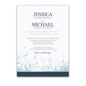 Navy Blue Floral Wedding Reception Only Invitation