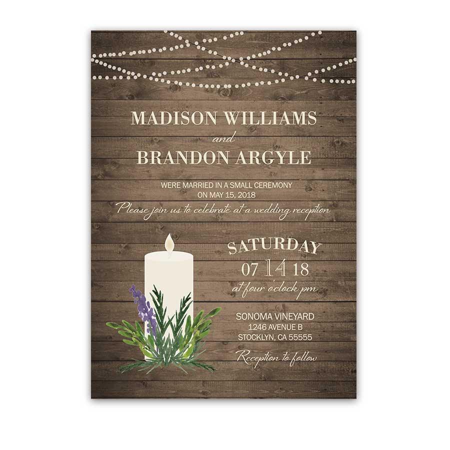 Rustic Greenery Wedding Reception Only Invitation
