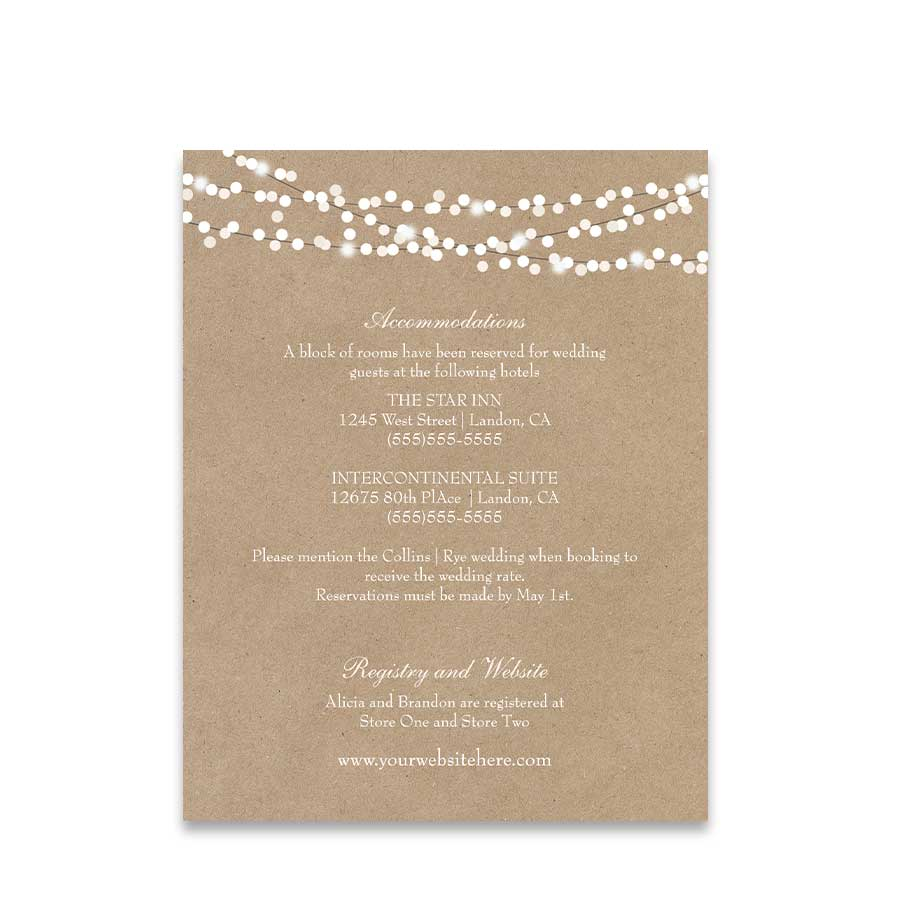 Guest Information Cards Rustic Cotton