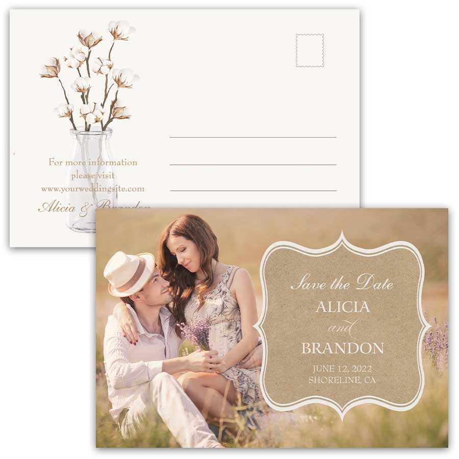 Rustic Save the Date Card Cotton