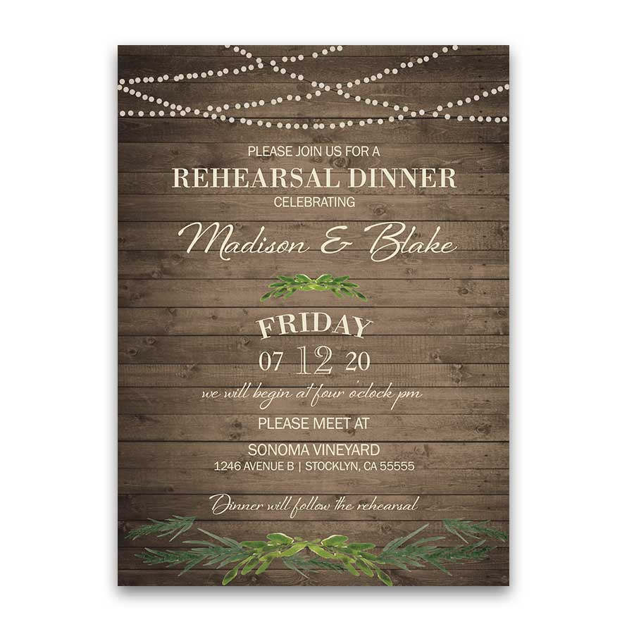 Rustic Greenery Wedding Rehearsal Dinner Invitation
