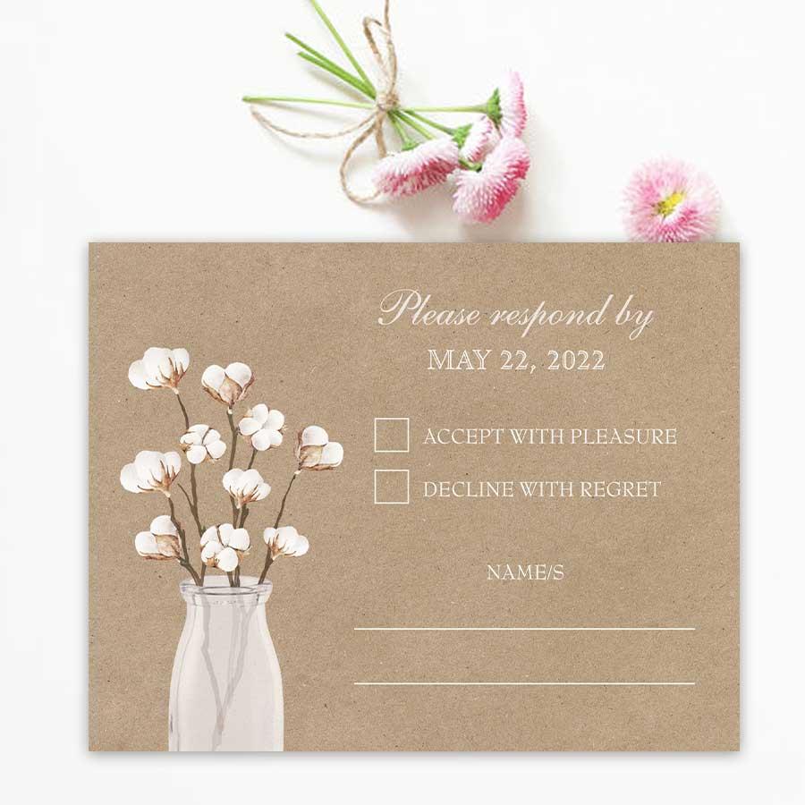Rustic Wedding RSVP Card Cotton Theme