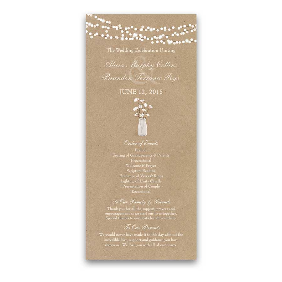 Rustic Wedding Programs Cotton Plant on Kraft Southern Style
