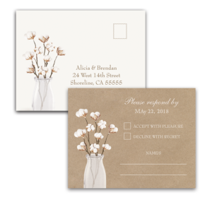 Rustic Cotton Theme Kraft Paper Wedding RSVP Postcard