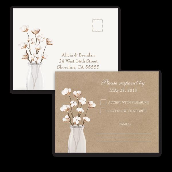 Rustic Cotton Theme Kraft Paper Wedding RSVP Postcard