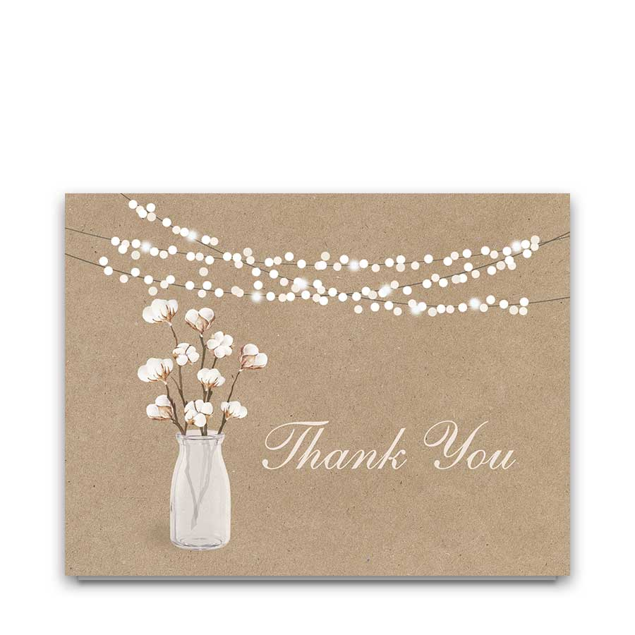 Cotton Thank You Card On Kraft Paper
