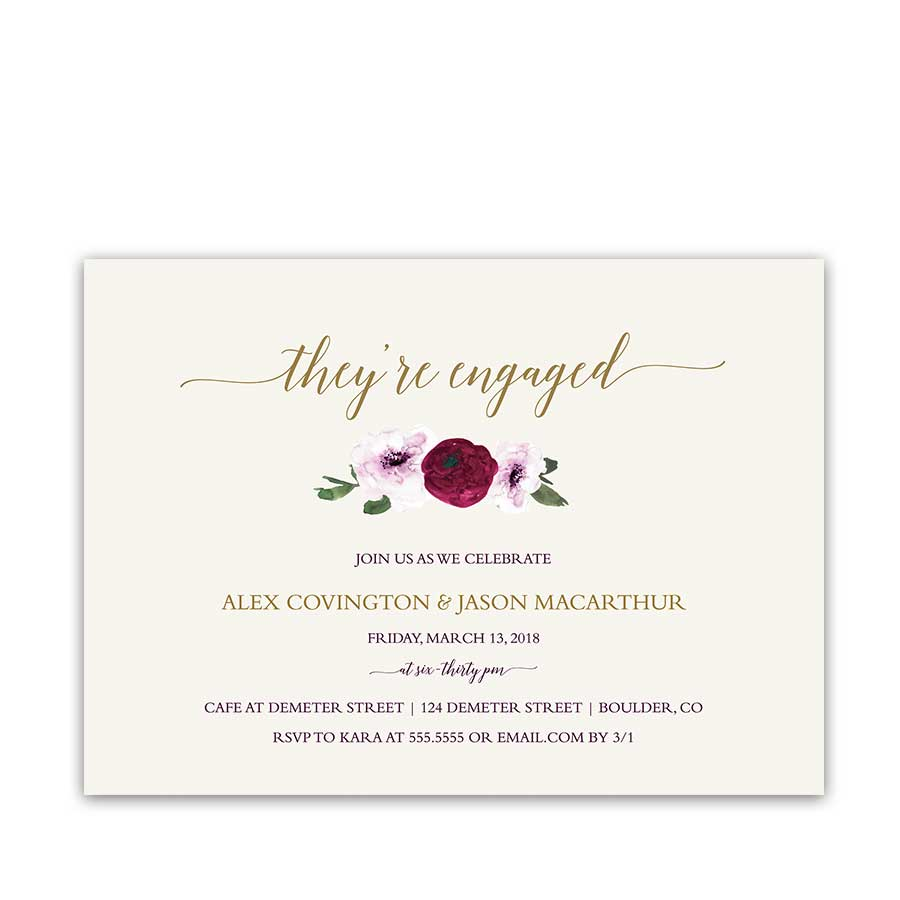 Floral Engagement Party Invitations Plum Mulberry Wine Flowers