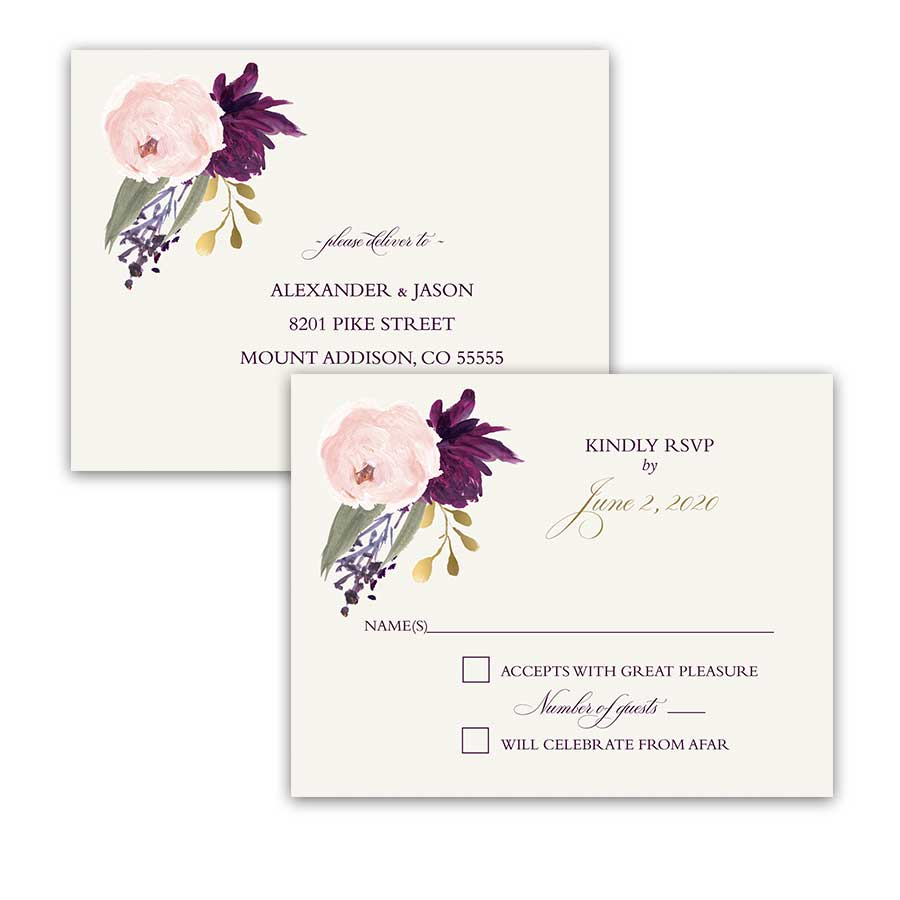 Wedding RSVP Postcard Boho Purple Blush Sangria Floral