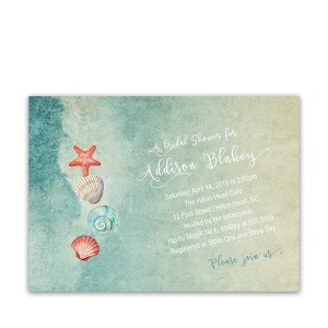 Seashell Starfish Beach Bridal Shower Invitation