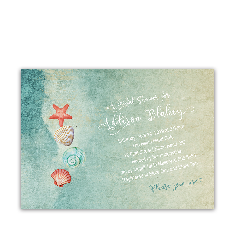 Seashell starfish beach bridal shower invitation filmwisefo