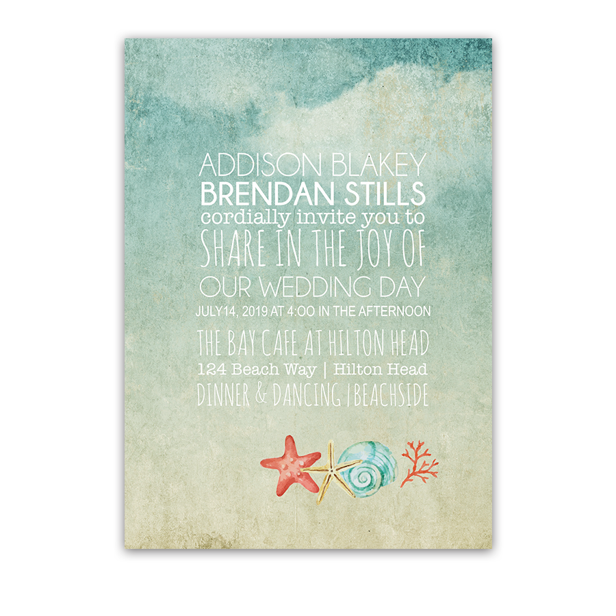 Beach Wedding Invitations Watercolor Starfish Seashell