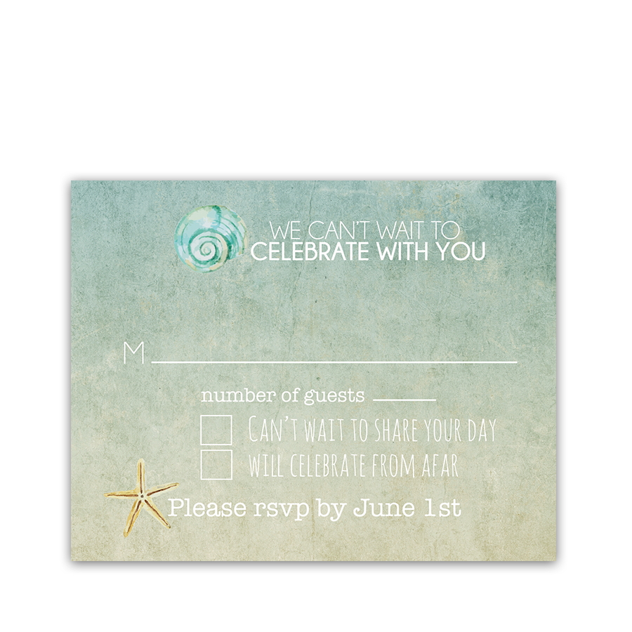 Beach Wedding RSVP Cards Watercolor Starfish Seashell
