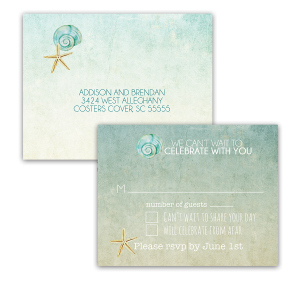 Starfish Seashell Watercolor Beach Wedding RSVP Postcard