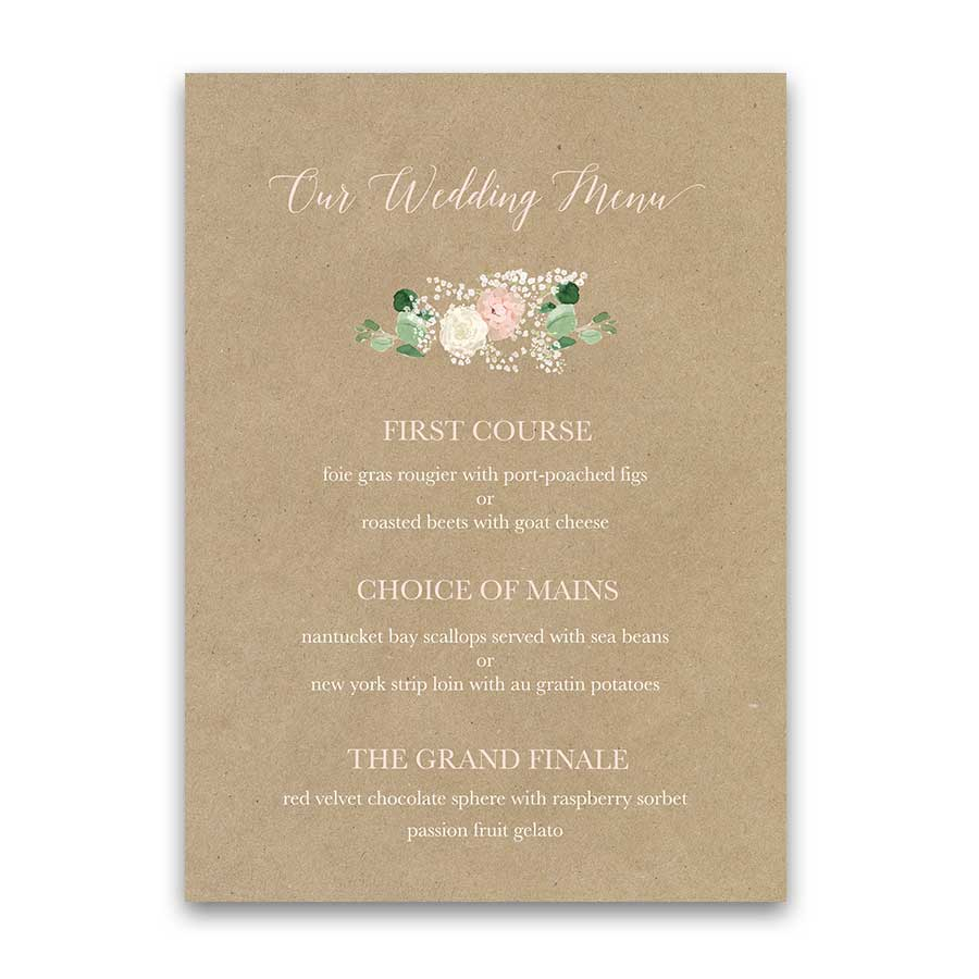 Rustic Wedding Menu Template Blush Floral Greenery