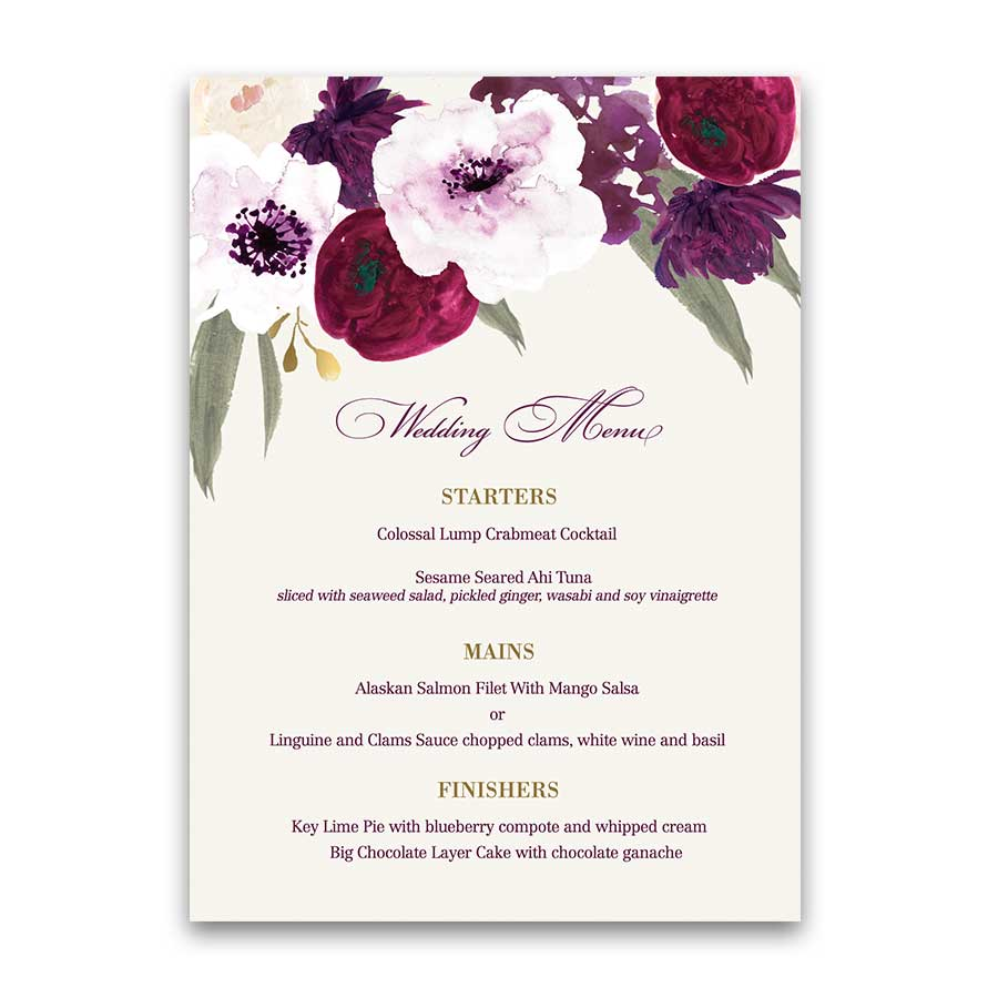 Boysenberry Blush Floral Wedding Custom Dinner Menu