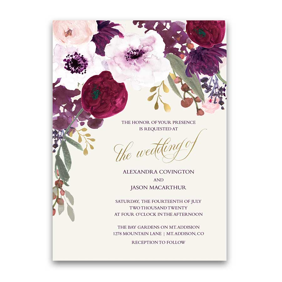 Floral Wedding Invitations Blush Sangria Plum Greenery
