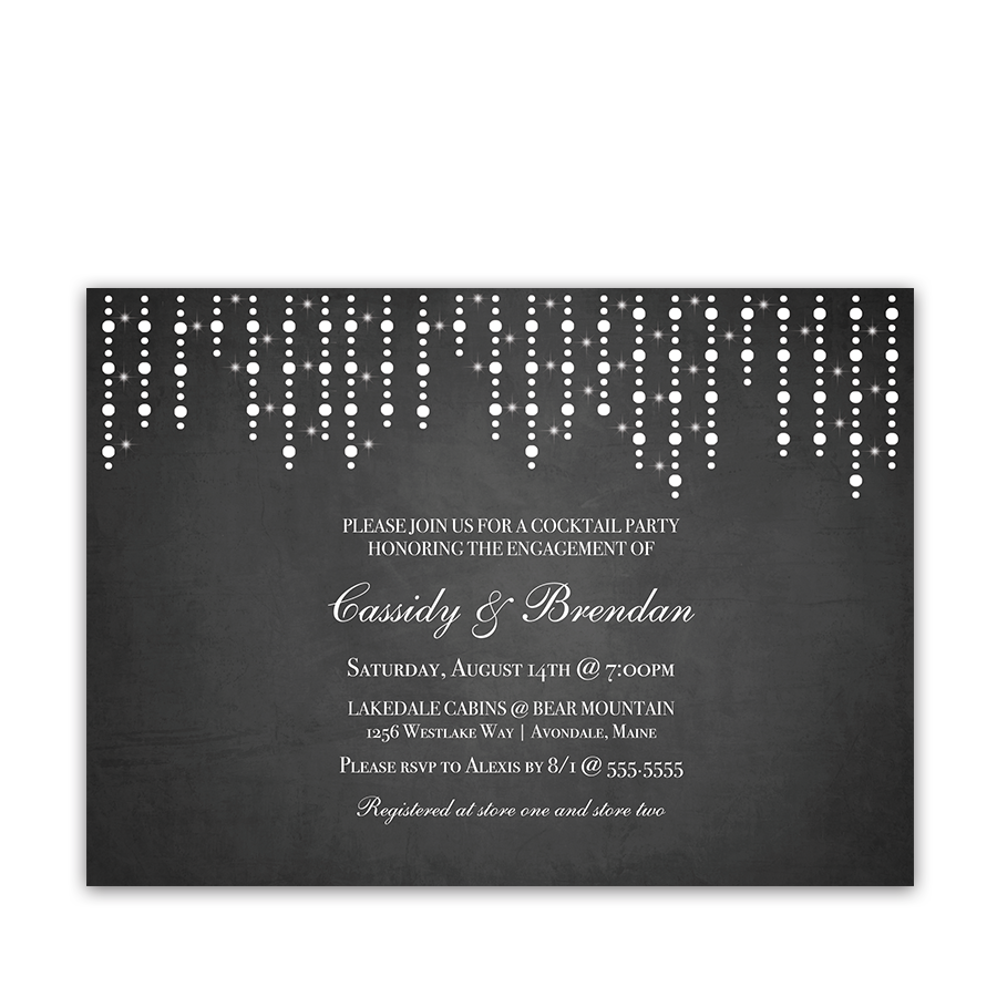 Rustic Chalkboard Engagement Party Invitation String Lights