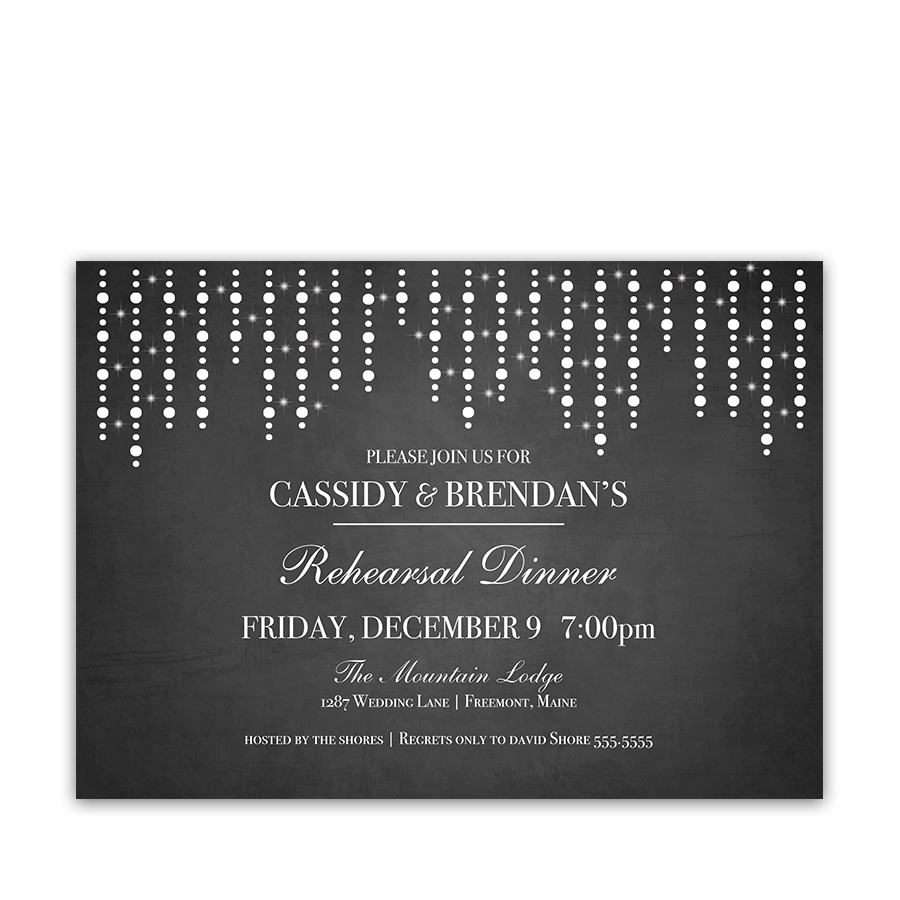 Chalkboard String Lights Rustic Wedding Rehearsal Invite