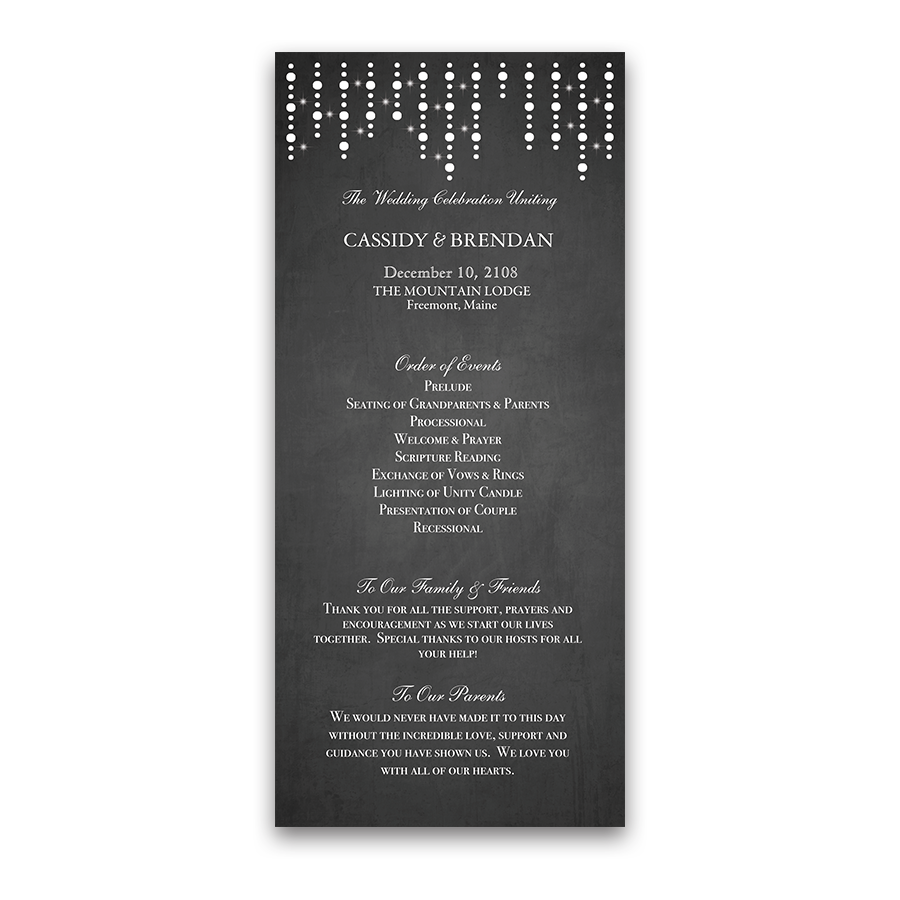 Chalkboard and lights wedding ceremony program junglespirit