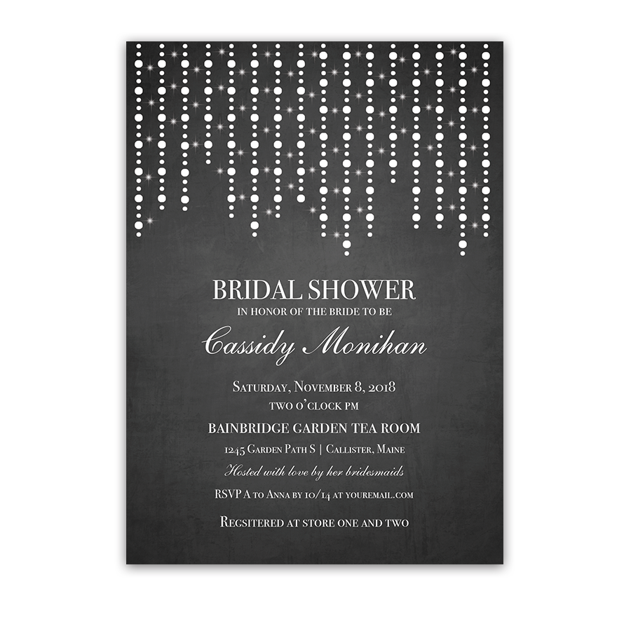 Chalkboard and string lights bridal shower invitation filmwisefo