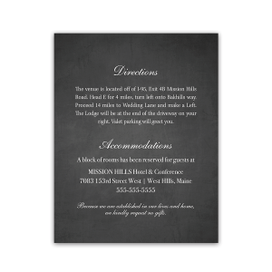 Chalkboard Wedding Guest Information Card Insert