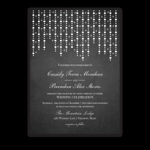 Chalkboard Wedding Invitation Draped String Lights Bokeh